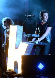 LAS VEGAS, NV - SEPTEMBER 27: Brandon Flowers of The Killers performs onstage during day 3 of the 2015 Life Is Beautiful Festival on September 27, 2015 in Las Vegas, Nevada. (Photo by Jeff Kravitz/FilmMagic)