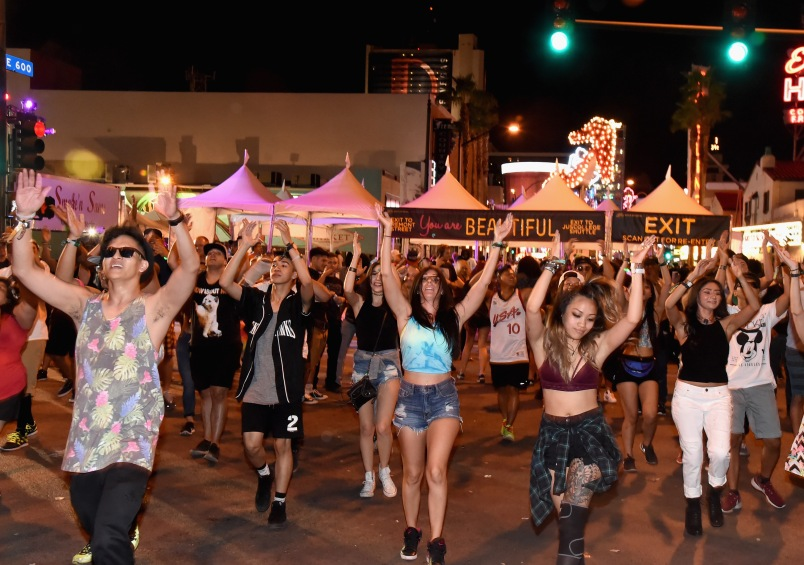 LAS VEGAS, NV - SEPTEMBER 27: A flash mob during day 3 of the 2015 Life Is Beautiful Festival on September 27, 2015 in Las Vegas, Nevada. (Photo by Jeff Kravitz/FilmMagic)