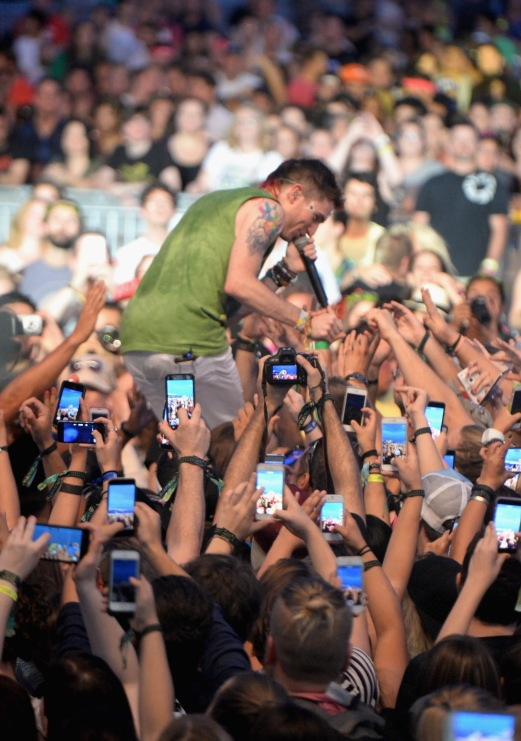 LAS VEGAS, NV - SEPTEMBER 27: Nicholas Petricca of Walk The Moon performs onstage during day 3 of the 2015 Life Is Beautiful Festival on September 27, 2015 in Las Vegas, Nevada. (Photo by Jeff Kravitz/FilmMagic)