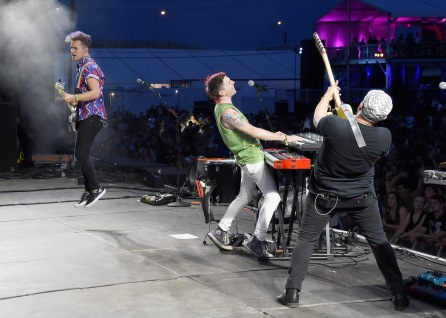 LAS VEGAS, NV - SEPTEMBER 27: Walk The Moon performs onstage during day 3 of the 2015 Life Is Beautiful Festival on September 27, 2015 in Las Vegas, Nevada. (Photo by Jeff Kravitz/FilmMagic)
