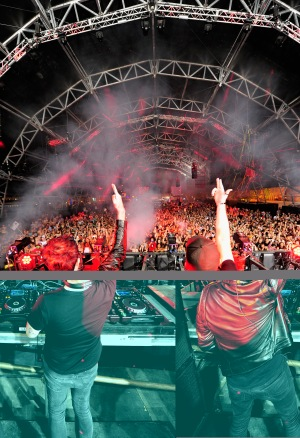 LAS VEGAS, NV - SEPTEMBER 27: Knife Party performs onstage during day 3 of the 2015 Life Is Beautiful Festival on September 27, 2015 in Las Vegas, Nevada. (Photo by FilmMagic/FilmMagic)